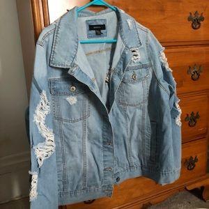 Plus Size Distressed Jean Jacket